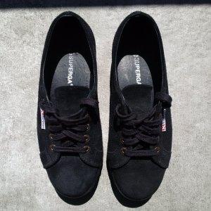 Superga 2790 Suede Flatforms Full Black 38 || Plateau Sneaker || Italienischer Trend Klassiker