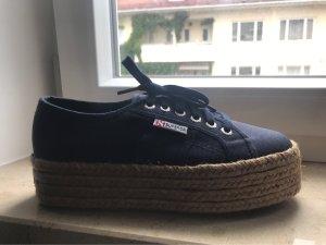 Superga Wedge Sneaker dark blue cotton
