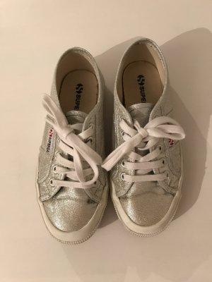 Superga Sneaker Schuhe Glitzer 35 36 Silber grau
