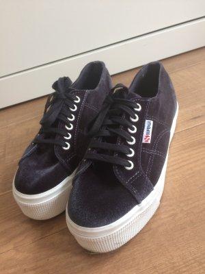 Superga Sneaker Velvet dunkelblau 39 Plateau