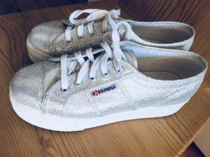 Superga Heel Sneakers white-silver-colored textile fiber