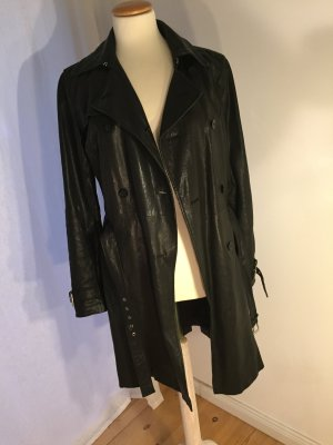 Michael Kors Leather Coat black-silver-colored leather
