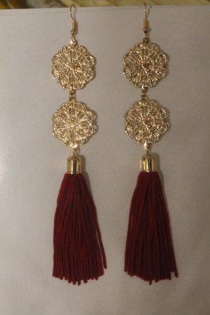 superlange Ohrringe * Gold & Dunkelrot * nie getragen * NEU *