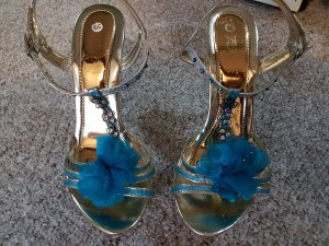 Platform High-Heeled Sandal turquoise-silver-colored