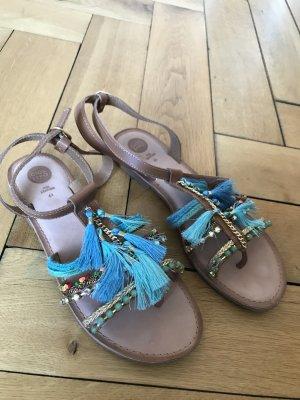 Superschöne Sandalen Leder mit buntem Besatz