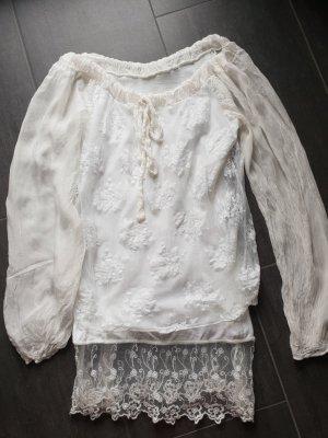 Blouse longue blanc soie