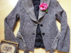 Mango Knitted Coat black-silver-colored mixture fibre