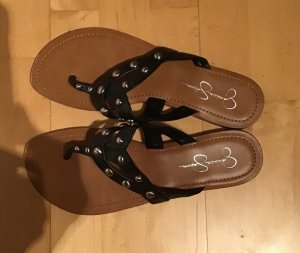 Jessica Simpson Toe-Post sandals black-gold-colored leather