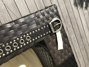Replay Studded Belt black-silver-colored leather