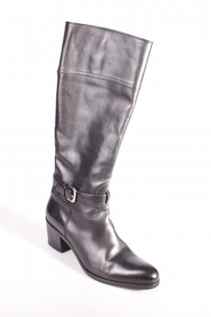 Prada Heel Boots black-silver-colored leather