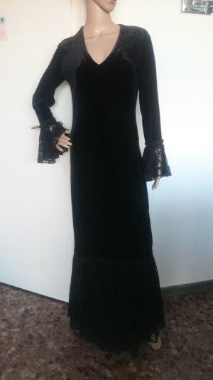 Superschönes Abendkleid Cocktailkleid aus elastischem Samt und Spitze Gr.36/38
