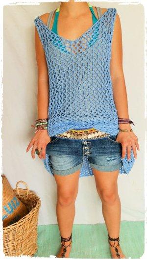Hippie Dress light blue-cornflower blue cotton