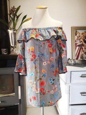 Superschönes Kleid von Zara Basic Gr S Blumenkleid mit Carmenausschnitt Midikleid Bandeaukleid Bandeau Midi Kleid