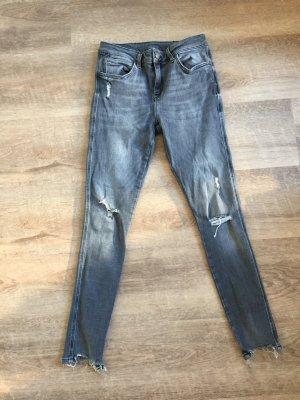 Superskinny Jeans Destroy Optik grau