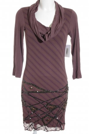 Superstar Sweater Dress brown violet-black striped pattern glittery