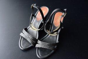 Sandalo con cinturino nero Tessuto misto