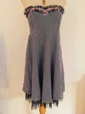 Supersüßes Bustier-Kleid im Marine-Look mit Tüll-Einsatz, trägerlos (Eucalyptus)