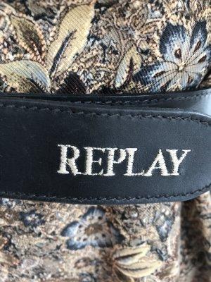 Replay Cintura di pelle nero-argento Pelle