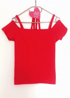 Supertolles Off-Shoulder Shirt in einem kräftigen Rot in Gr. M/L