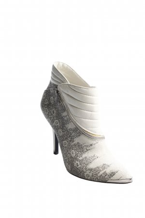 Supertrash Ankle Boots weiß-schwarz Reptil-Optik