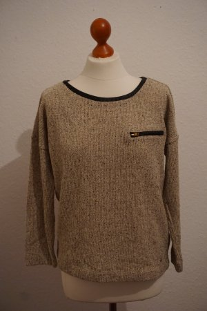 SUPERTRASH- Pullover mit Lederbesatz