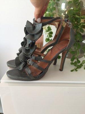 Supertrash Schuhe Sandaletten Gr 39 Leder grau
