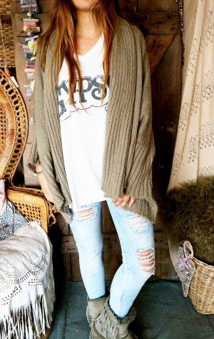 Veste oversize marron clair tissu mixte