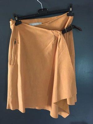 Falda de cuero coñac