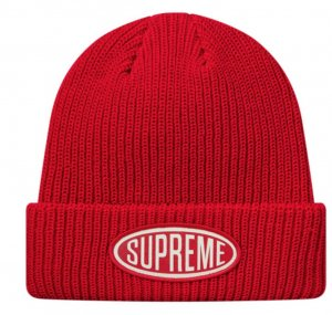 Supreme being Chapeau en tricot rouge brique-blanc