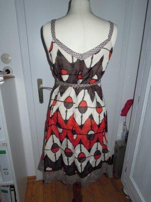 Sure Träger Kleid Muster Rot Creme Braun Gr. 40