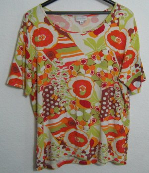 SURPRISE Shirt Größe 48/50 Sommer Print Kurze Ärmel Stretch