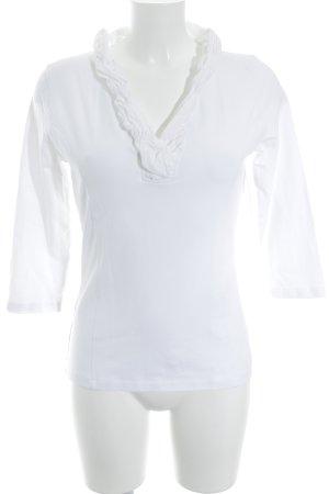 susskind V-hals shirt wit extravagante stijl
