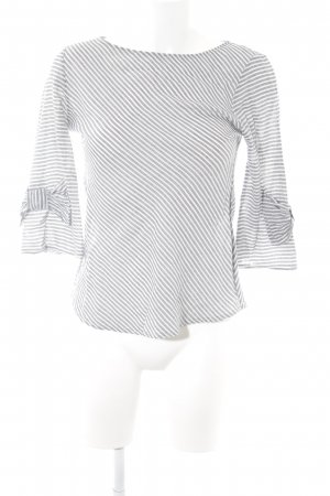 SusyMix Langarm-Bluse wollweiß-graublau Streifenmuster Casual-Look