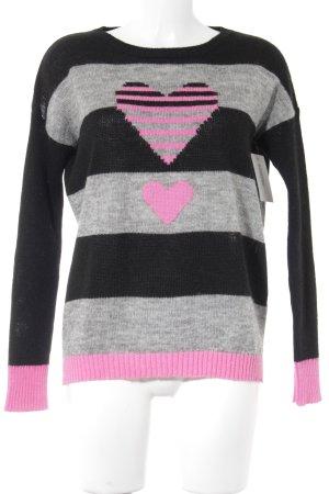 SusyMix Kraagloze sweater Herzmuster casual uitstraling