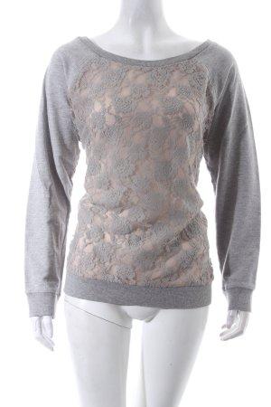 Suzanna Oversized Pullover hellgrau meliert Romantik-Look