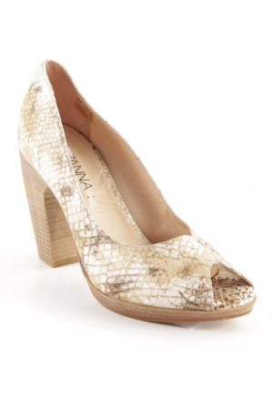 Suzanna Peeptoe Pumps weiß-creme Animalmuster Casual-Look