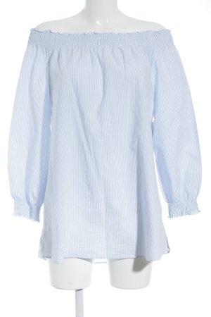 Suzanna schulterfreies Top hellblau-weiß Streifenmuster Casual-Look