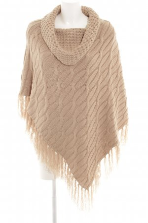 Suzanna Knitted Poncho beige cable stitch casual look