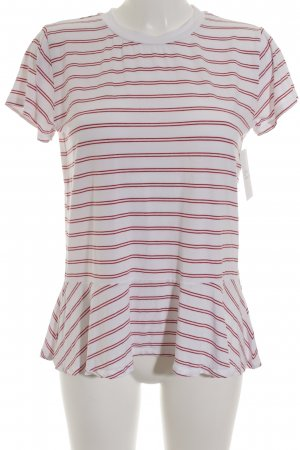 Suzanna T-Shirt weiß-dunkelrot Ringelmuster Casual-Look