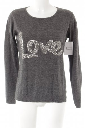 Suzanna Wool Sweater grey-silver-colored embroidered lettering casual look