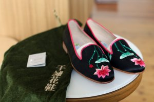 Suzhou Cobblers Slipper Loafer Seerosen Stickerei Seide retro
