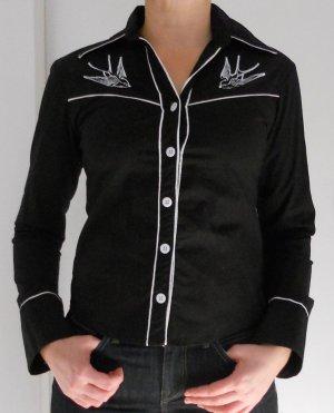 Camisa de manga larga blanco-negro Algodón