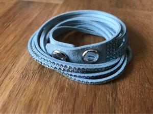 Swarovski Leather Bracelet light blue leather