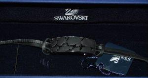 Swarovski Pulsera negro-color plata Cuero