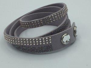 Swarovski Armband – Slake DLX mintgrün oder blasslila Alcantara Leder mit Swarovski Kristallen