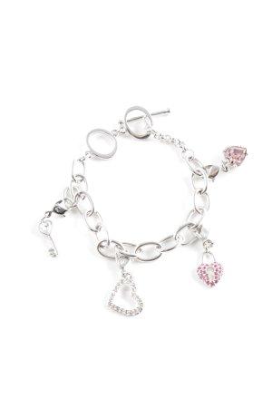 Swarovski Charm Bracelet silver-colored-pink casual look