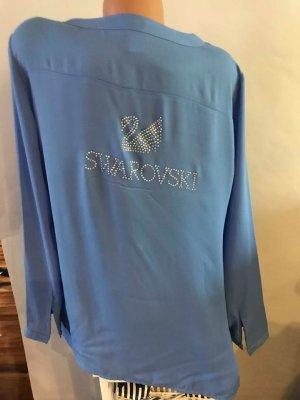 Swarovski Bluse Tunika  in gr L Farbe Blau leicht