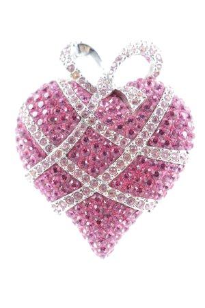 Swarovski Brosche pink-rosa Glitzer-Optik