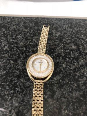 Swarovski Crystalline Oval Uhr mit Metallarmband Weiß Goldfarben