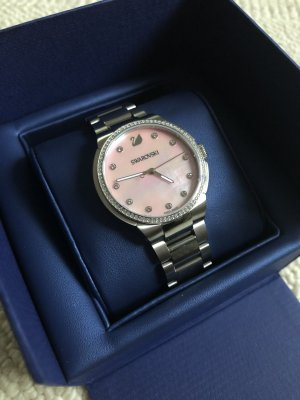 Swarovski Watch With Metal Strap silver-colored-pink
